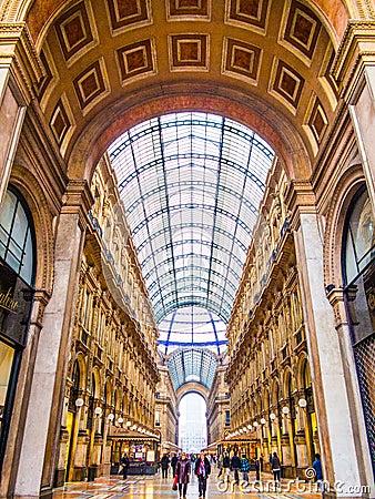 维托里奥Emanuele画廊,米兰 编辑类库存图片