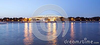 Embankment of the Moskva River and Luzhniki Stadium, night view