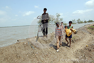 Embankment Problem in Sundarban Editorial Photography