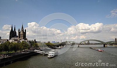 Embankment of Rhine river in Cologne, Germany Editorial Photography