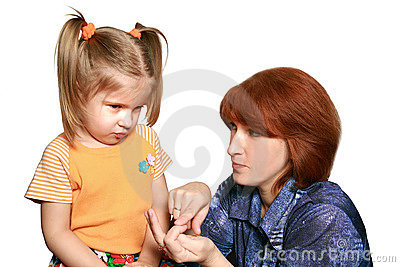 The embarrassed girl and strict mum