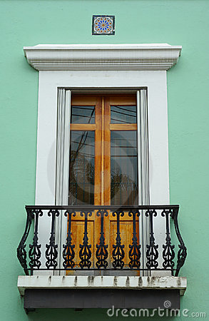 Embellished balcony door in Old San Juan