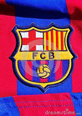 Emblem of FC Barcelona Editorial Photo