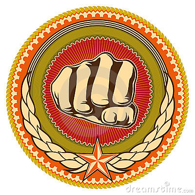 Emblem with fist.