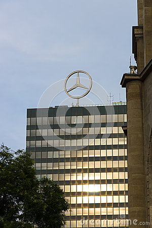 The emblem of Mercedes-Benz. Editorial Stock Photo