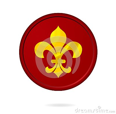 Emblem red color isolated