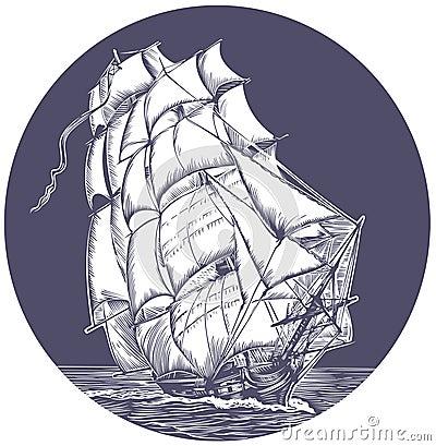 Emblem of sail ship
