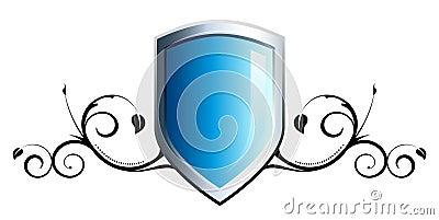 Emblema azul brillante del blindaje