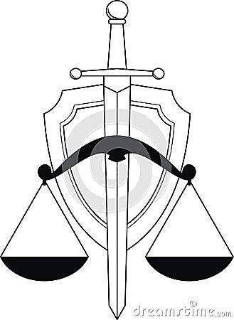Emblema de la justicia - blindaje, espada y escalas