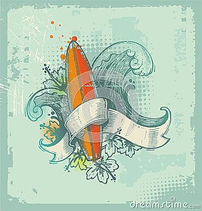 Emblema praticante il surfing disegnato a mano