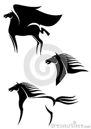 Emblemas pretos dos cavalos