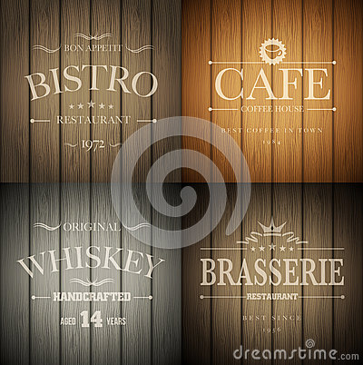 Free Emblems On Wood Texture Stock Images - 32908154