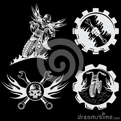 emblems with skull,flames and wrenches Vector Illustration