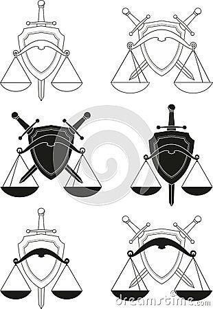 Emblems - symbols of law, order, justice, court