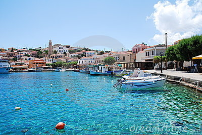 Emborio harbour, Halki island Editorial Photo