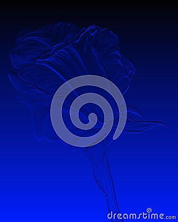 Embossed blue rose