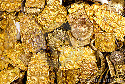 Embossed brass golden metal decorative pieces