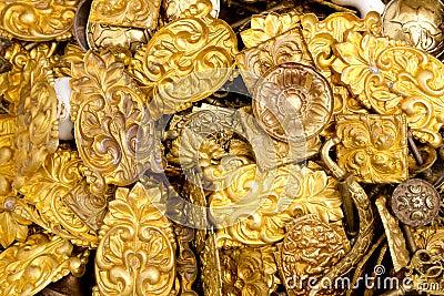 Embossed brass golden metal decorative pieces