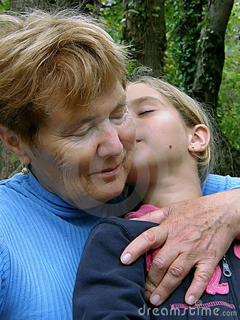 Embraced grandmother and granddaughter