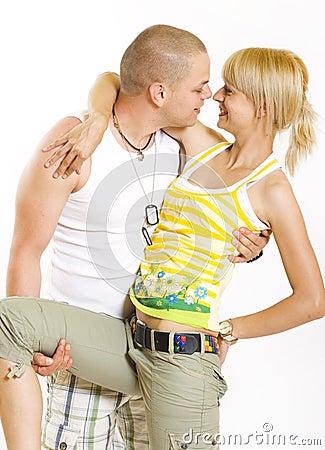 Embracing glamorous couple