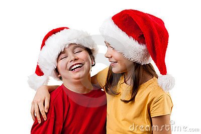 Embracing Santa Claus kids