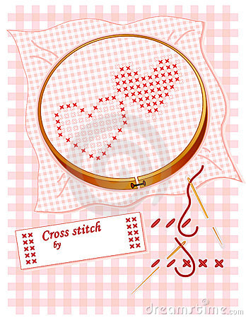 Embroidered Cross Stitch Hearts