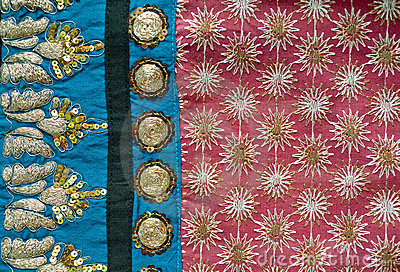 Embroidered Indian fabric detail