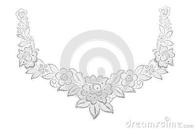 Embroidered lace trim over white