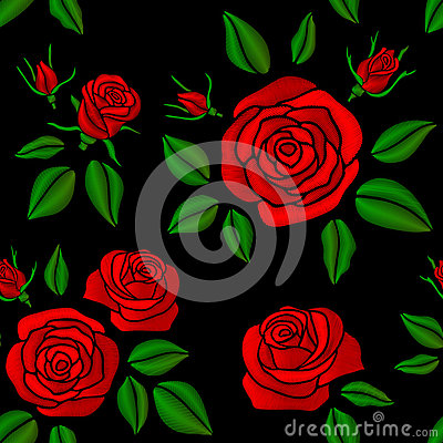 Free Embroidered Red Rose Flowers Vector Vintage Seamless Floral Pattern For Fashion Design Royalty Free Stock Photos - 91639308