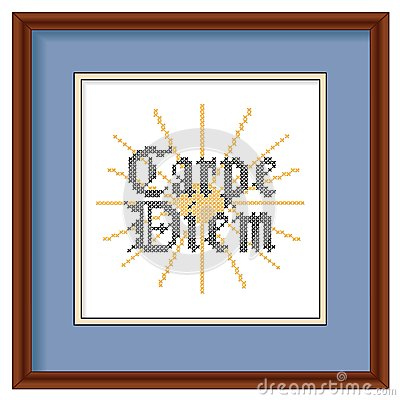 Embroidery, Carpe Diem, Cross Stitch, Wood Picture