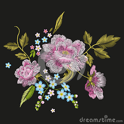 Free Embroidery Colorful Floral Pattern With Dog Roses And Forget-me- Stock Photo - 85993780