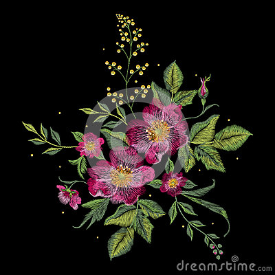Free Embroidery Colorful Floral Pattern With Vinous Dog Roses. Stock Image - 87898391