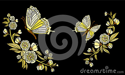 Embroidery ethnic flowers and butterfly, line design fashion wearing. Vector vintage , decorative element for embroidery Vector Illustration