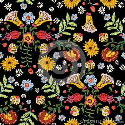 Free Embroidery Ethnic Seamless Pattern With Colorful Flowers. Royalty Free Stock Image - 100228776