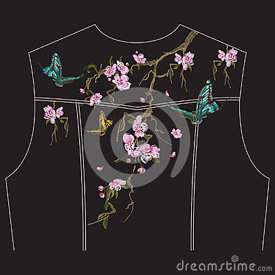 Free Embroidery Floral Pattern With Oriental Cherry Blossom For Jeans Royalty Free Stock Photography - 95187007