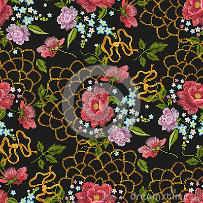 Free Embroidery Floral Seamless Pattern With Dog Roses, Forget-me-not Royalty Free Stock Photography - 85993847