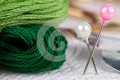 Embroidery floss and pins