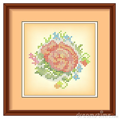 Embroidery, Flower Bouquet, Picture Frame, Mat