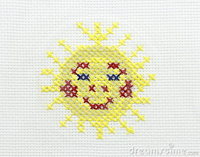 Embroidery of the image of the sun