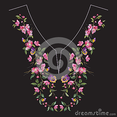 Free Embroidery Neck Line Floral Pattern With Oriental Cherry Blossom Stock Photo - 95186800