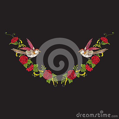 Embroidery neckline with flowers and swallow on black background Vector Illustration