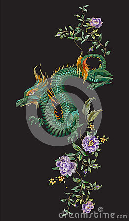 Free Embroidery Oriental Floral Pattern With Green Dragon And Roses. Stock Photos - 95186763