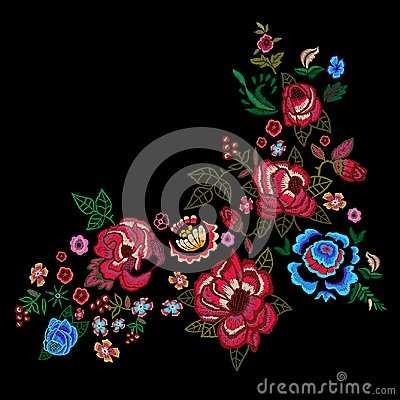 Free Embroidery Red And Blue Roses, Vector Embroidered Floral Design. Stock Image - 112865491