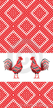 Embroidery rooster D