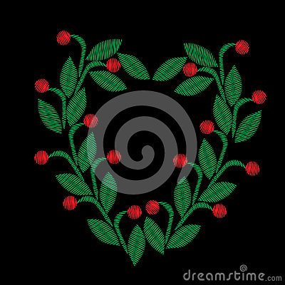 Embroidery stitches imitation floral frame with green leaf and r Vector Illustration