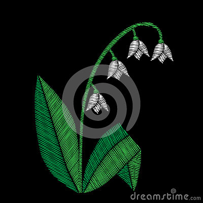 Embroidery stitches imitation floral pattern with lilies of the Vector Illustration