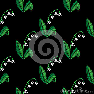 Embroidery stitches imitation floral seamless pattern with littl Vector Illustration