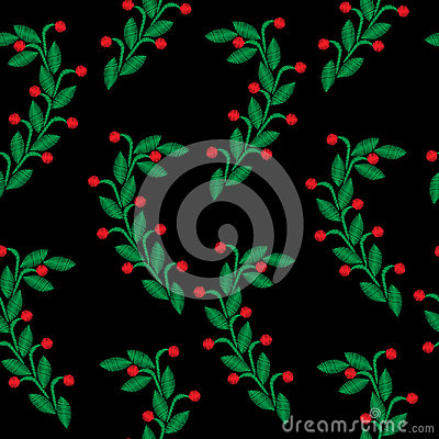 Embroidery stitches imitation seamless pattern with green leaf a Vector Illustration