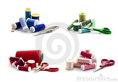 Embroidery threads isolated on white