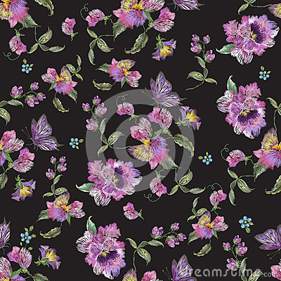 Free Embroidery Trend Floral Seamless Pattern With Pansies And Forget Stock Images - 95187264